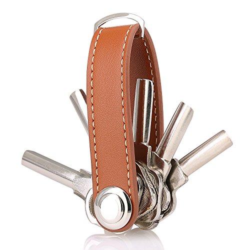 Key Holder Leather Key Organizer Secure Locking Mechanism - Expandable Key Holder Hook Up (8 Keys) Made by Premium Real Leather -Brown