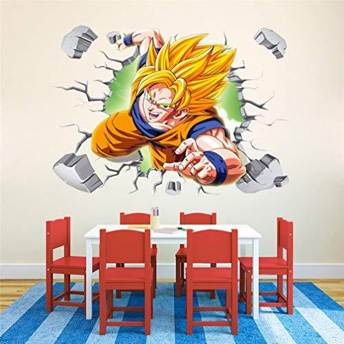 Autocollants muraux Dragon Ball Sun Guko Wukong Super Saiyan imperméables décorative papier peint 60X90CM