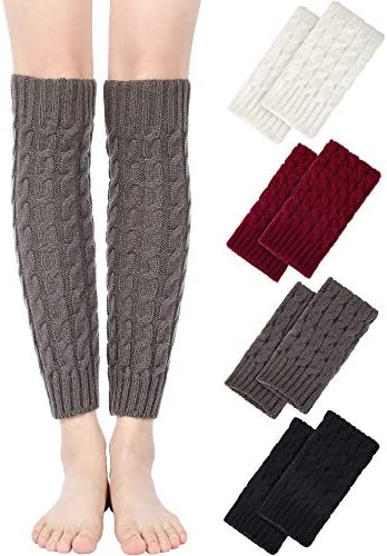 4 Pairs Women Knit Leg Warmers Knitted Crochet Long Boot Socks for Winter 4 Colors product image
