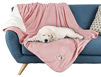 """Waterproof Pet Blanket-50""""x 60"""" Soft Plush Throw Protects Couch, Chairs, Car, Bed from Spills, Stains, or Pet Fur-Machine Washable by Petmaker (Pink)"""