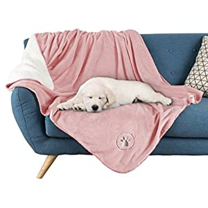 "Waterproof Pet Blanket-50""x 60"" Soft Plush Throw Protects Couch, Chairs, Car, Bed from Spills, Stains, or Pet Fur-Machine Washable by Petmaker (Pink)"
