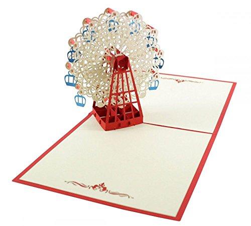 Riesenrad (Rot) als 3D Karte/Pop-Up Karte zum Geburtstag, als Glückwunschkarte oder Grußkarte verschenken