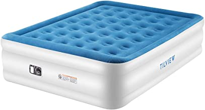 Tilview Queen Size Air Mattress, Blow Up Elevated Raised Air Bed Inflatable Airbed with Built-in Electric Pump, Storage Bag and Repair Patches Included, Blue, 2-Year Guarantee