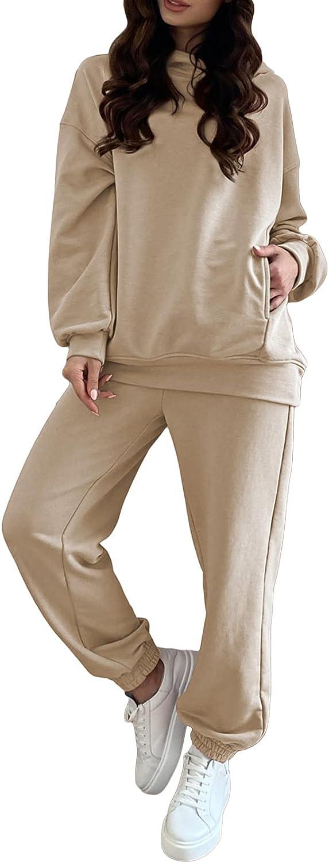 Fixmatti Women Hoodies Tracksuit Long Sleeve Sweatshirts Jogger Pant 2 Piece Outfits