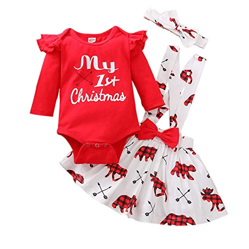 Newborn Baby Girl Christmas Outfits My 1st Christmas Romper+Suspender Skirt +Headband Overall Clothes Set (Red, 0-3 Months)