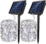 CHOUREN La secuencia accionada solar Luz de Navidad paquete de 2 33 pies 100 LED impermeable IP65 8 modos de centelleo del Iluminación de interior al aire libre de hadas de la luciérnaga luces encendi