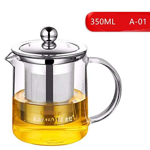 tetera acero inoxidable Juego de tetera de vidrio 350 ml de vidrio resistente al calor filtro de acero inoxidable fiesta oficina burbuja tetera-A-01 350 ml