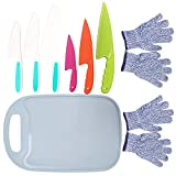 9PCS Kids Plastic Knife Set,Kids Safe Knife Set with 2 Pair Cut Resistant Gloves (Ages 6-12) & Kids Cutting Board,Real Kids Cooking Tool BPA-Free Kids' Knives for Fruit, Bread, Cake, Salad (Blue)