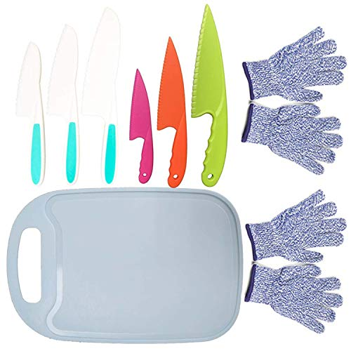 9PCS Kids Plastic Knife Set,Kids Safe Knife Set with 2 Pair Cut Resistant Gloves (Ages 6-12) & Kids Cutting Board,Real Kids Cooking Tool BPA-Free Kids' Knives for Fruit, Bread, Cake, Salad (Blue)