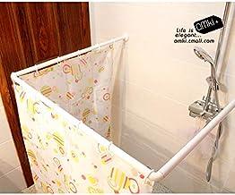 U L and I Shape Adjustable Corner Shower Curtain Rod [SILVER]