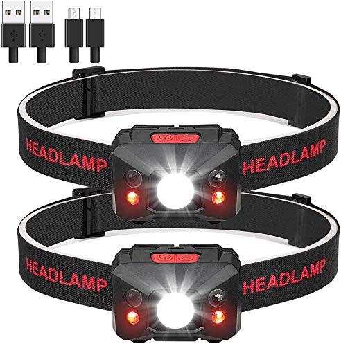 Eletorot Torcia Frontale 1200mAh USB Ricaricabile,IPX4 Impermeabile Lampada Frontale LED Lampade da Testa Luce LED Torcia da Testa o casco con 5 Modalità per Campeggio, Speleologia, Pesca, 2 Pcs
