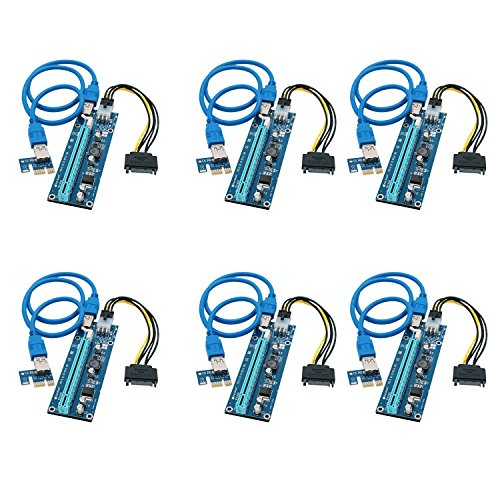 FebSmart PCI-E Riser für Bitcoin-Litecoin-ETH Coin PCIe VER006C 6-Pin 16x zu 1x Powered Riser Adapter Karte 6-Pin PCI-E auf SATA Power Cable - GPU Riser Adapter - Ethereum Mining ETH (6 PCS)