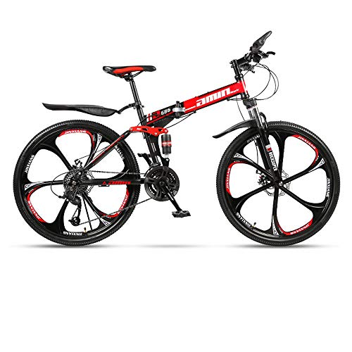 Folding Mountain Bike 21/24/27/30 Speed 24/26 Inch Integrated Wheel Bicycle Ring Shock Absorber Racing Off-Road Shift Male and Female Students Fast Riding,Red,24in/24speed