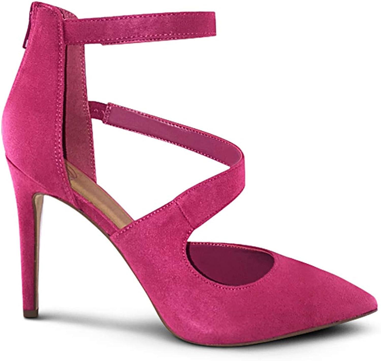 MARCOREPUBLIC Mission Womens Pointy Toe Low Platform High Heels Stiletto Dress Pumps