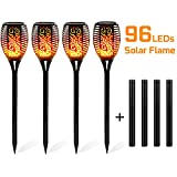 "Dancing Flame Design - A safe alternative to the real ""flames"" — 96pcs LEDs in the light cast a safe, soft, mood-enhancing glow.The actual height of the solar torches is 33.5 inches.(Accessories include) If it doesn't work for a while, because Batter..."