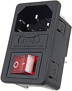 GFORTUN Red Light Rocker Inlet Male Power Socket Plug Module with Fuse Switch 6A 250V 10A 125V 3 Pin IEC320 C14