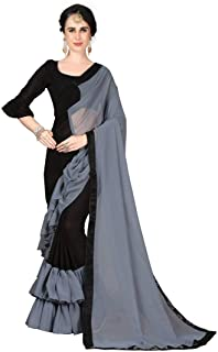 Shonaya Women's Banglori Silk Plain Saree with Unstitched Blouse Piece (Black & Grey_Free Size)