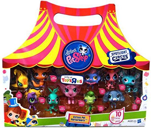 Littlest Pet Shop Circus Pet Performers - Toys-R-US Exclusive. Yellow Dolphin #2839, Purple Horse/Pony #2840, Orange Chipmunk #2841, Teal Kangaroo #2843, Pink Elephant #2844, Purple and Pink Lion #2842, Pink and Black Lemur #2847, Cocker Spaniel Puppy Dog #2846, Mouse #2845, Vinnie Terrio #2696