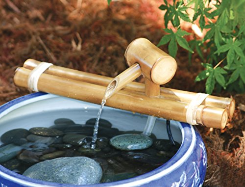 """Bamboo Accents Japanese Water Fountain, Versatile Indoor/Outdoor Fountain, 12"""" Classic Style, Smooth Split-Resistant Bamboo to Create Your Own Zen Fountain"""
