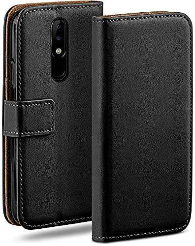 moex Klapphülle für Nokia 5.1 Hülle klappbar, Handyhülle mit Kartenfach, 360 Grad Schutzhülle zum klappen, Flip Hülle Book Cover, Vegan Leder Handytasche, Schwarz