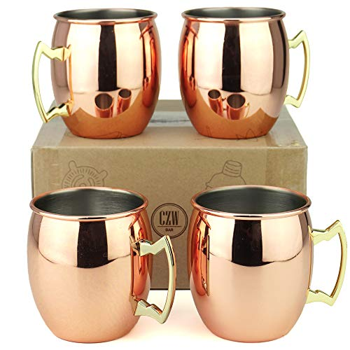 Copper/Rose Stainless Steel Moscow Mule Mug Set