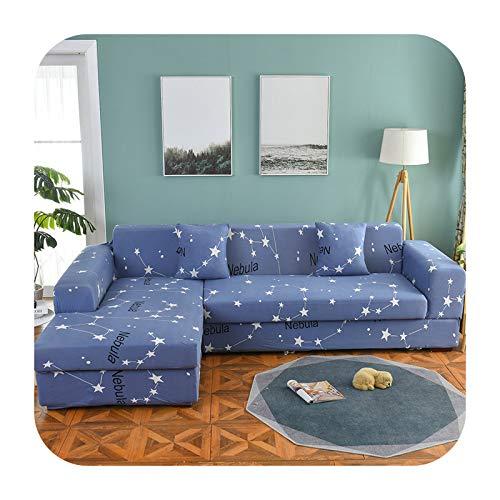KASHINO Juego de funda de sofá nórdico de algodón, funda elástica para sofá para sala de estar, 2 piezas para adaptarse a sofá chaise longue en forma de L, color 19-3 plazas, 190-230 cm