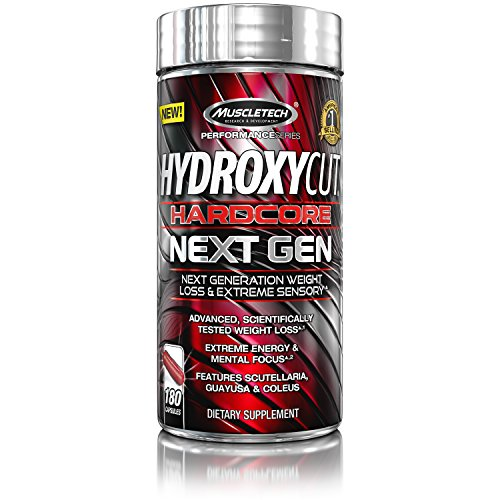 Hydroxycut Hardcore Next Gen, Scientifically Tested Weight Loss and Energy, Weight Loss Supplement, 180 Capsules