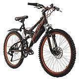 KS Cycling Jugendfahrrad Mountainbike Fully 24'' Bliss schwarz-orange RH38cm