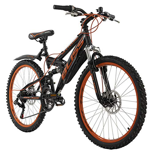 KS Cycling Jugendfahrrad Mountainbike Fully 24\'\' Bliss schwarz-orange RH 38 cm