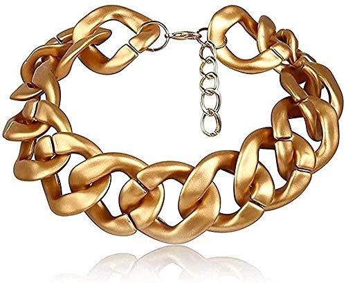 huangshuhua Collar Collar Oro Lichain Collar Hip Hop Joyas Mujeres Pustement Chunky Exagerado Gargantilla Charm Mujer Accesorios para Mujeres Hombres Regalo