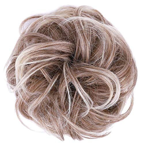 JuvaBun Messy Bun Hair Scrunchie – Hair Extensions for Women & Men Create Full Updos for Events, Everyday Wear – Washable, Realistic, Synthetic Juva Hair Bun Maker & Resealable Bag, Beach Blonde