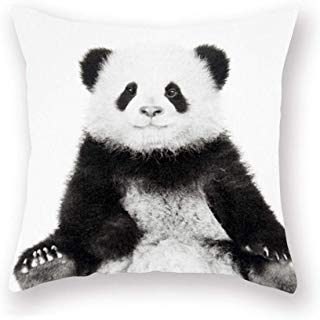 Smilyard Panda Pillow Covers Decorative Throw Pillow Covers Animal Lovely Black Panda Super Soft Pillow Case Outdoor Indoor Square Cushion Cover for Home Couch 18x18 Inch (Panda 01)