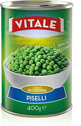 24pz - Piselli 'VITALE' Legumi in Latta Lattina 400g 100% ITALIANO - Made in Italy - Cartone da 24 Pezzi