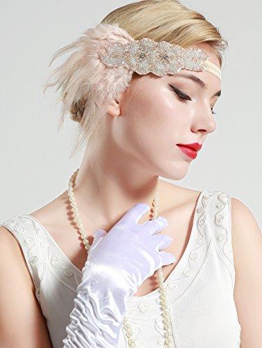 BABEYOND Frauen Kristall Haarband Perlen Stirnband Federn Flapper Stirnband Vintage Stirnband 1920 - 5