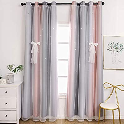 Unistar 2 Panels Blackout Stars Curtains for Kids Girls Bedroom Aesthetic Living Room Decor Colorful Double Layer Star Cut Out Stripe Pink Rainbow Window Curtain Wall Home Decoration W52 x L84 Inches by UNISTAR