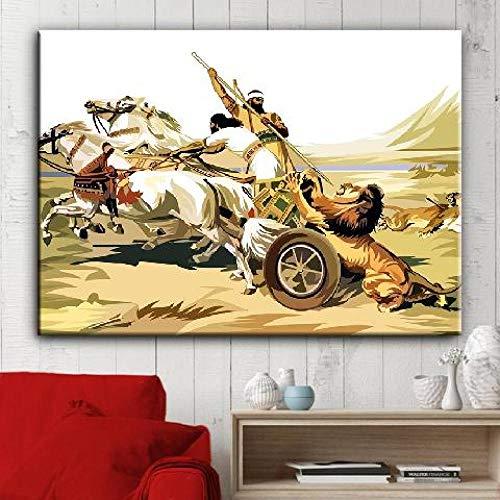 wZUN Lienzo HD Impresiones Pintura Pared Arte Antiguo clásico Abstracto Personaje Imagen Rey Cartel decoración del hogar 45x60cm Sin Marco