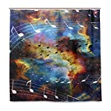 Wamika Galaxy Space Music Note Bad Duschvorhang Liner, Design Durable Stoff Schimmelresistent Wasserdicht Badewanne Vorhang mit 12 Haken 183,0 cm x 183,0 cm