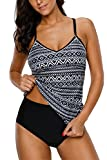 Tribal tankini set with tribal and paisley printed Built in lightly padded bra provides modest support and shape Cross back design; Adjustable over-the-shoulder back straps Stretchy triangle tankini bottom can perfectly match with your tankini top V-...