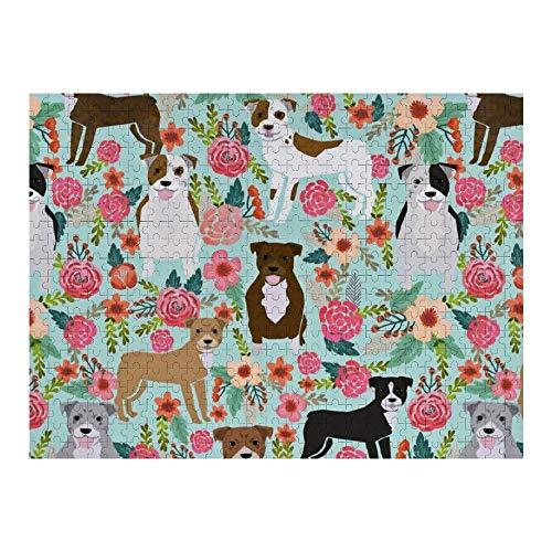 OneMtoss Pinturas florales del arte de la pared de Pitbull Rompecabezas de madera 1000PCS para los regalos de la sala de estar para los niños