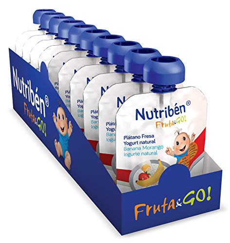 Nutribén Fruta And Go ! Bolsita de puré de Frutas 100% Natural, Plátano Fresa y Yogurt Natural- Pack De 10 unidades x 90g