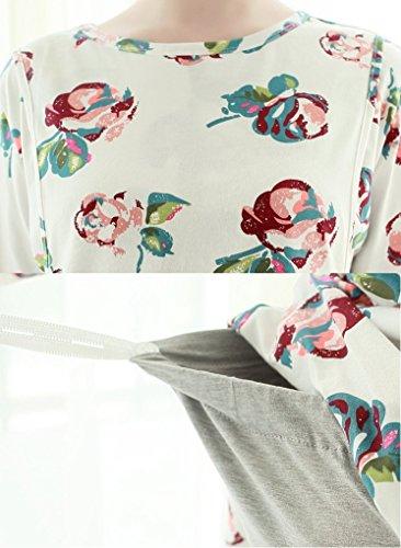 ミウォルナマタニティパジャマ授乳服授乳口付き上下セット前開き長袖マタニティウェア花柄M