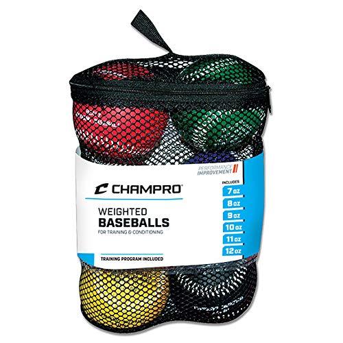 Champro Trainings-Baseball-Set, 6 Stück, Rot / Kastanienbraun / Grün / Gelb / Blau / Schwarz, 22,9 cm