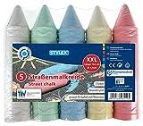 Stylex 48110 Straßenkreide XXL, extra große Straßenmalkreide für Kinder, 5 Stangen, farbig Sortiert, zum Bemalen von Asphalt und Pflasterflächen, bunt