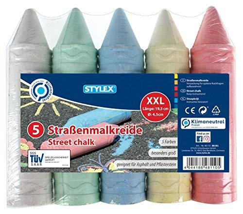 Stylex 48110 - Straßenkreide XXL, extra große Straßenmalkreide für Kinder, 5 Stangen, farbig sortiert, zum Bemalen von Asphalt und Pflasterflächen