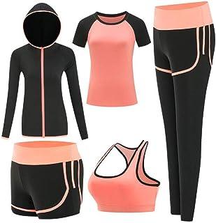 ZETIY Women's Activewear Set 5 Piece Yoga Jogging Workout Clothes Athletic Tracksuits