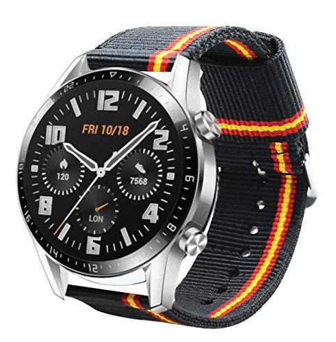 Estuyoya - Pulsera de Nailon compatible con Huawei Watch GT 2 / Huawei Watch Sport/GT Classic /Fashion/GT Active 22mm Colores Bandera de España Transpirable Deportiva Elegante - Lineblack