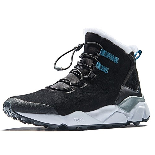 RAX Men's Outdoor Anti-Slip Water-Resistent Snow Boot with Fur Lined Winter Warm Sneaker Shoes(Black, US 9.5)
