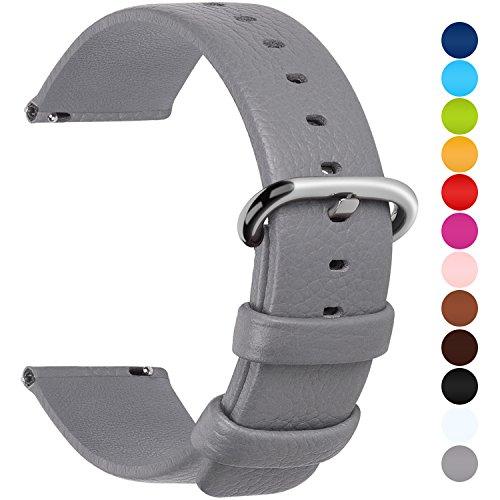 Fullmosa 12 Farben für Uhrenarmband, Kalbsleder Armband für Damen Heren Lederarmband mit Edelstahl Metall Schließe, 24mm,Grau