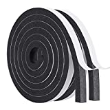 Door Insulation Strips -2 Rolls, 12mm(W) x 10mm(T) Window Door Seal Draught Excluder SoundProof Weatherstripping for Gap Seal Total 4M Long