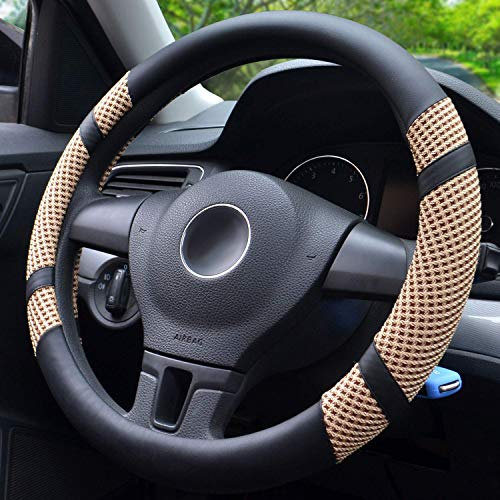 BOKIN Steering Wheel Cover, Microfiber Leather and Viscose, Breathable, Anti-Slip, Odorless, Warm in Winter and Cool in Summer, Universal 15 Inches (Tan)